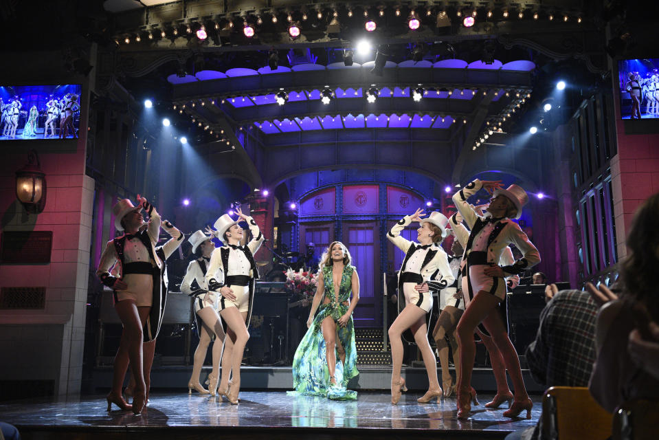 Jennifer Lopez busted out her famed green Versace dress during her Saturday Night Live hosting gig. (Photo: Will Heath/NBC/NBCU Photo Bank via Getty Images)
