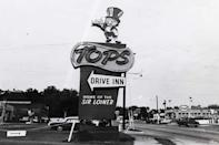 <p>A good old-fashioned drive-in that was established in Arlington, Virginia in 1953, Tops eventually grew to 18 locations in the DC region. After merging with Gino's Hamburgers in 1967, all of the locations were sold or rebranded.</p>