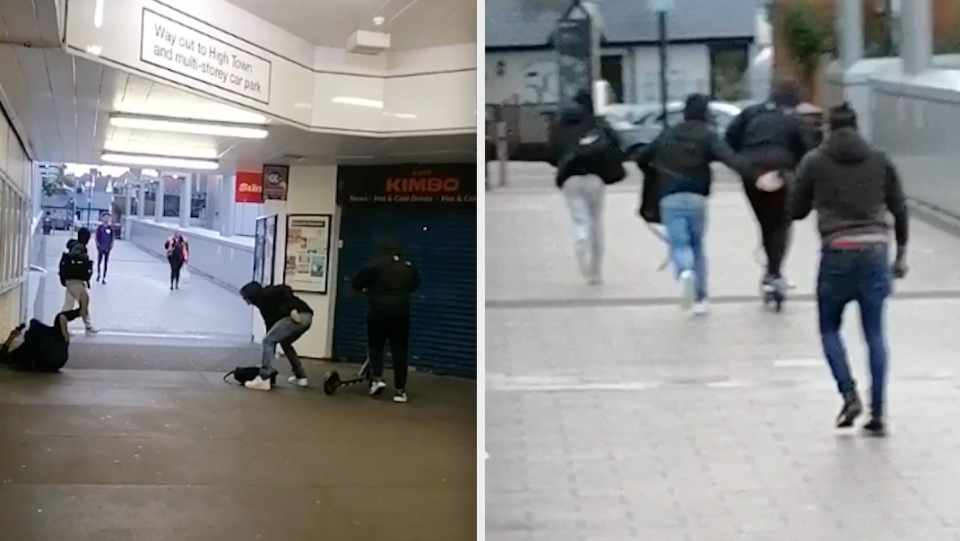 The victim was punched to the ground before he ran after the escaping thieves. (SWNS)