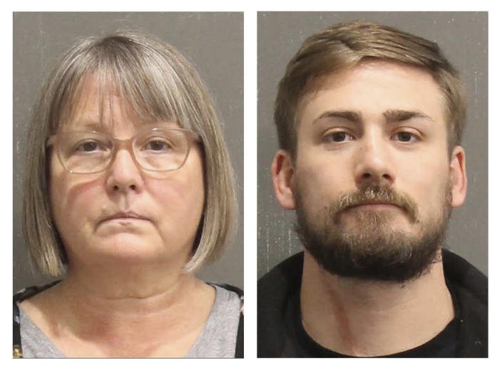 This booking photo released by the Metro Nashville, Tenn., Police Department, shows Lisa Marie Eisenhart,left, and Eric Gavelek Munchel. A Washington, D.C., judge on Wednesday, Feb. 17, 2021, ordered that the Georgia woman and her Tennessee son remain jailed pending trial on charges for their involvement in the Jan. 6 riot at the U.S. Capitol. Lisa Eisenhart is accused of breaking into the Capitol with her son, Eric Munchel, who was photographed carrying flexible plastic handcuffs in the Senate chamber. (Metro Nashville Police Department via AP)