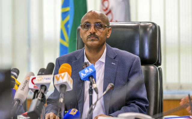 Ethiopian Airlines CEO Tewolde Gebremariam holds a press briefing at the headquarters of Ethiopian Airlines in Addis Ababa, Ethiopia, Sunday, March 10, 2019. An Ethiopian Airlines flight crashed shortly after takeoff from Ethiopia's capital on Sunday morning, killing all 157 people thought to be on board, the airline and state broadcaster said, as anxious families rushed to airports in Addis Ababa and the destination, Nairobi. (AP Photo/Mulugeta Ayene)
