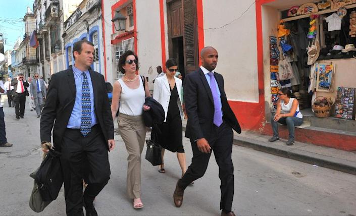 The US delegation is to be led by Roberta Jacobson (2ndL), the State Department's top official for Latin America, who last month became the highest-ranking US official to visit Cuba in 35 years (AFP Photo/Yamil Lage)