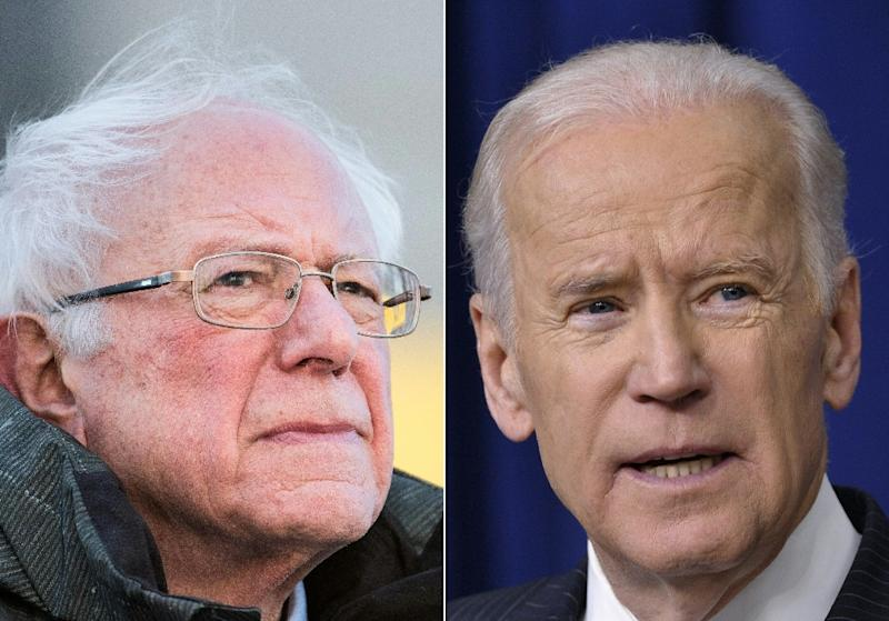 Presidential hopefuls Bernie Sanders (left) and Joe Biden are the two leading candidates in the 2020 Democratic nomination race, and at 77 and 76, respectively, they are also the oldest (AFP Photo/Sean Rayford, MANDEL NGAN)