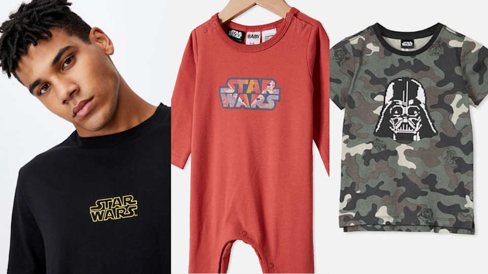 men's, babys and kids Star Wars tees from Cotton On