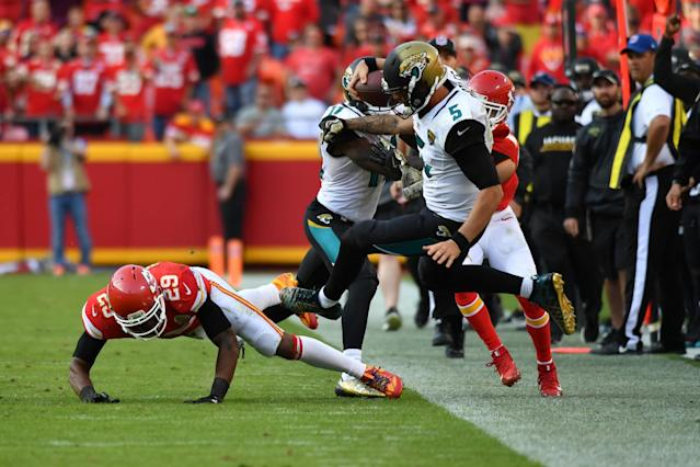 <p>Strong safety Eric Berry #29 of the Kansas City Chiefs knocks quarterback Blake Bortles #5 of the Jacksonville Jaguars out of bounds on a hit at Arrowhead Stadium during the fourth quarter of the game on November 6, 2016 in Kansas City, Missouri. (Photo by Jamie Squire/Getty Images) </p>