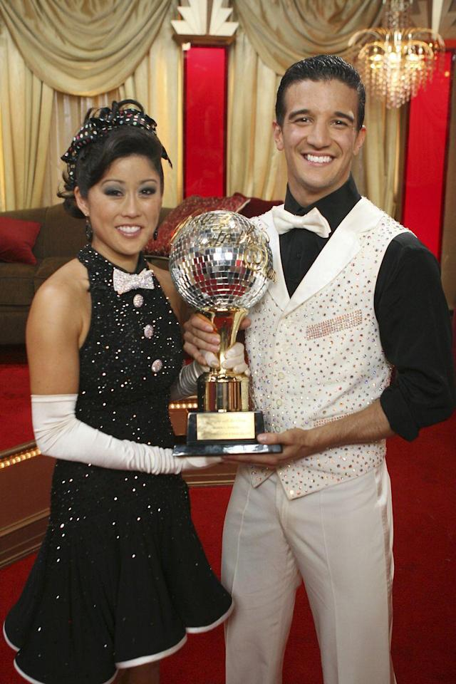 """<p>Kristi Yamaguchi secured the Mirror Ball Trophy in season six of <em>DWTS</em>. The Olympic <a href=""""https://youtu.be/wWM5UDybfAM"""" rel=""""nofollow noopener"""" target=""""_blank"""" data-ylk=""""slk:figure skater's jive"""" class=""""link rapid-noclick-resp"""">figure skater's jive</a> with partner Mark Ballas is iconic.</p>"""