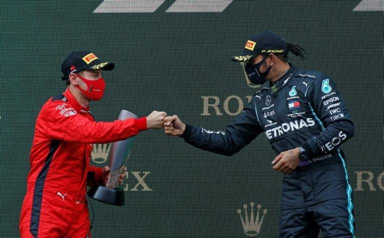 'The greatest?' Ferrari's Sebastian Vettel with Lewis Hamilton on the podium on Sunday