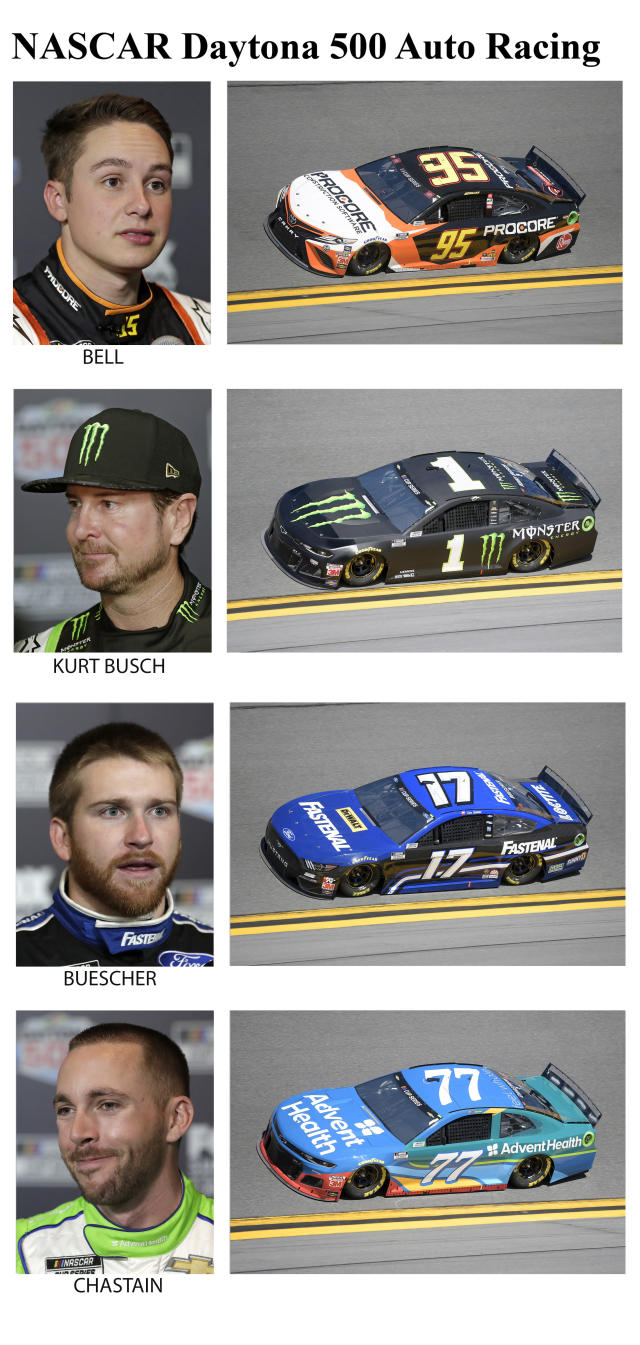 These photos taken in February 2020 show drivers in the starting lineup for Sunday's NASCAR Daytona 500 auto race in Daytona Beach, Fla. From top are Christopher Bell, 17th position; Kurt Busch, 18th position; Chris Buescher, 19th position and Ross Chastain, 20th position. (AP Photo)
