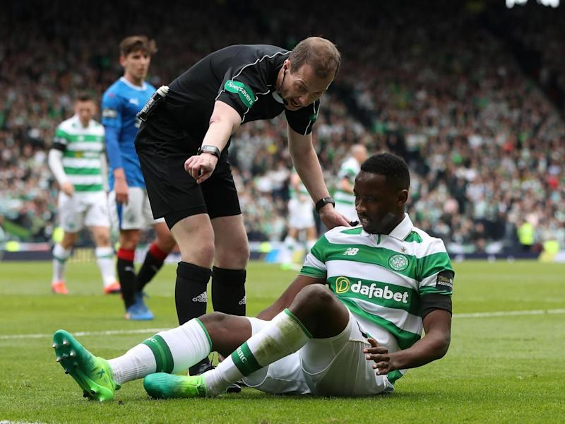 Dembele went off with a hamstring injury (Getty)