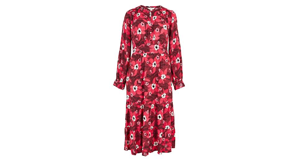 Crepe Floral Waisted Dress