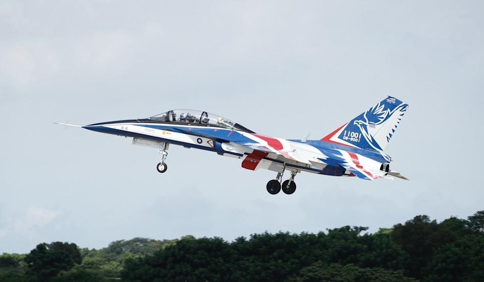 Yung Yin advanced trainer jets, unveiled in June, will replace the F-5 planes. Photo: EPA-EFE