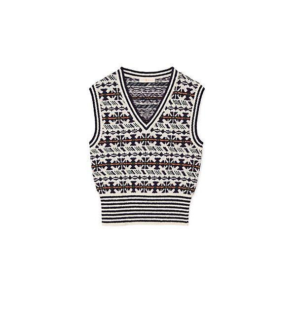 """<p><strong>Tory Burch</strong></p><p>toryburch.com</p><p><strong>$298.00</strong></p><p><a href=""""https://go.redirectingat.com?id=74968X1596630&url=https%3A%2F%2Fwww.toryburch.com%2Ffair-isle-vest%2F76035.html&sref=https%3A%2F%2Fwww.townandcountrymag.com%2Fstyle%2Ffashion-trends%2Fg34521550%2Fbest-sweater-vests%2F"""" rel=""""nofollow noopener"""" target=""""_blank"""" data-ylk=""""slk:Shop Now"""" class=""""link rapid-noclick-resp"""">Shop Now</a></p><p>A classic Fair Isle pattern gives this sweater vest an apres ski appeal. </p>"""