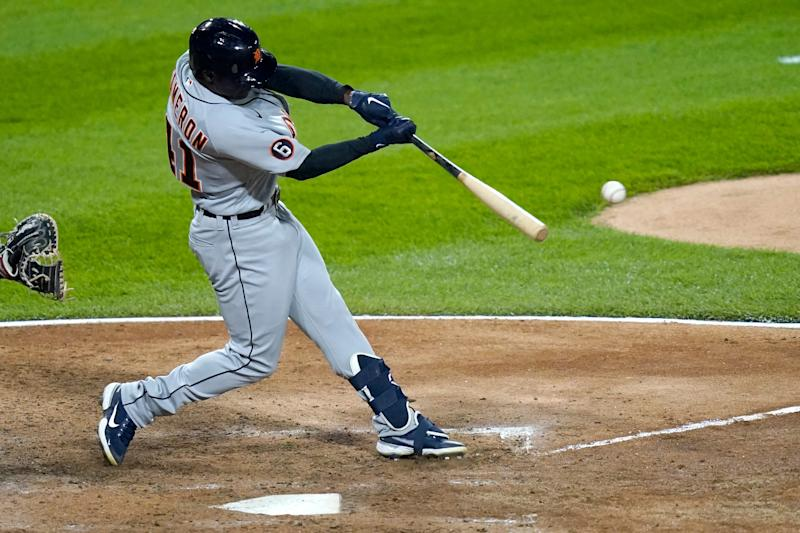 Detroit Tigers' Daz Cameron hits a two-run single off Chicago White Sox starting pitcher Lucas Giolito during the sixth inning of a baseball game Friday, Sept. 11, 2020, in Chicago