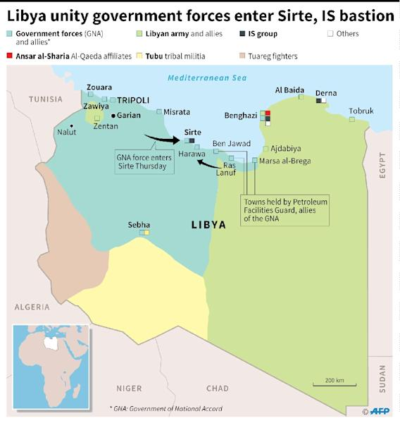 Libyan pro-government forces fire rockets targeting IS group positions in Sirte on July 18, 2016 (AFP Photo/Kun TIAN, Thomas SAINT-CRICQ)
