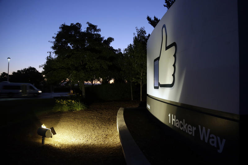 "The Facebook ""like"" symbol is illuminated on a sign outside the company's headquarters in Menlo Park, Calif., Friday, June 7, 2013. A leaked document has laid bare the monumental scope of the government's surveillance of Americans' phone records — hundreds of millions of calls — in the first hard evidence of a massive data collection program aimed at combating terrorism under powers granted by Congress after the 9/11 attacks. The companies include Microsoft, Yahoo, Google, Facebook, PalTalk, AOL, Skype, YouTube and Apple. (AP Photo/Marcio Jose Sanchez)"