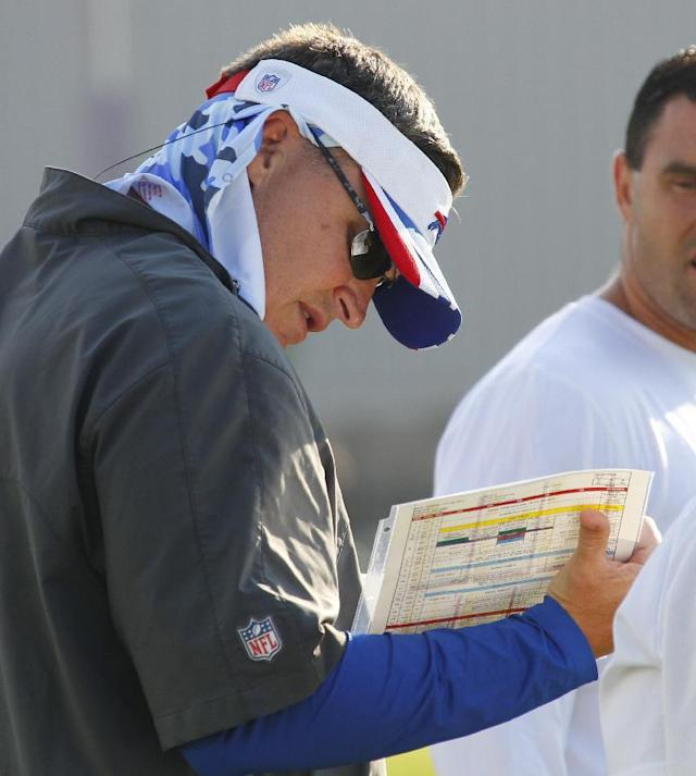 Buffalo Bills head coach Doug Marrone looks at a play card during NFL football training camp in Pittsford, N.Y., Tuesday, July 22, 2014. (AP Photo/Bill Wippert)
