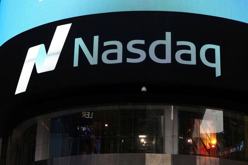 FILE PHOTO: A view of the exterior of the Nasdaq market site in Times Square, New York City