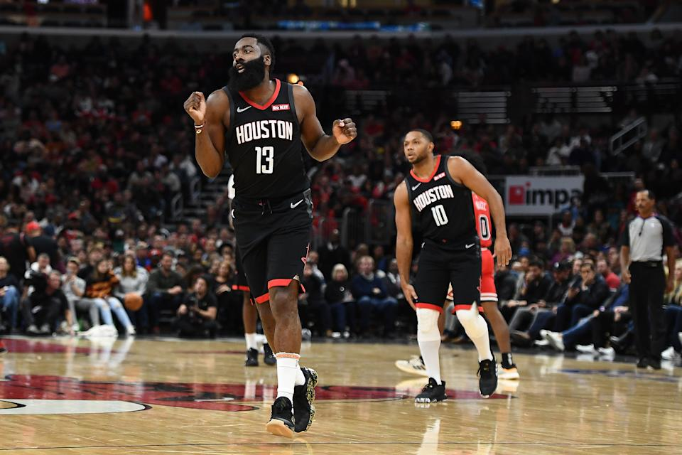 CHICAGO, ILLINOIS - NOVEMBER 09:  James Harden #13 of the Houston Rockets celebrates after a three point shot against the Chicago Bulls during the second half of a game at United Center on November 09, 2019 in Chicago, Illinois. NOTE TO USER: User expressly acknowledges and agrees that, by downloading and or using this photograph, User is consenting to the terms and conditions of the Getty Images License Agreement. (Photo by Stacy Revere/Getty Images)
