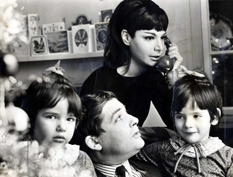 Nigella Lawson with her father, Nigel, mother, Vanessa, and sister, Thomasina, at home in 1965.