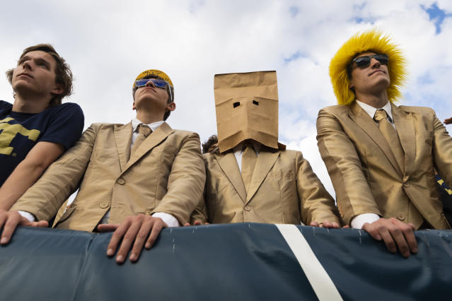 Georgia Tech students look on in the closing moments of an NCAA college football game against Georgia, Saturday, Nov. 30, 2019 in Atlanta. Georgia won 52-7 and Georgia Tech finished the season with a record of 3-9. (AP Photo/John Amis)