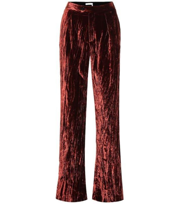 """<p>Chloé High-Rise Wide-Leg Velvet Pants, $645 (from $1,260), <a href=""""https://rstyle.me/+iMo_szkQX5ogCLv2_RO_Xg"""" rel=""""nofollow noopener"""" target=""""_blank"""" data-ylk=""""slk:available here"""" class=""""link rapid-noclick-resp"""">available here</a> (sizes US 2-12). </p>"""
