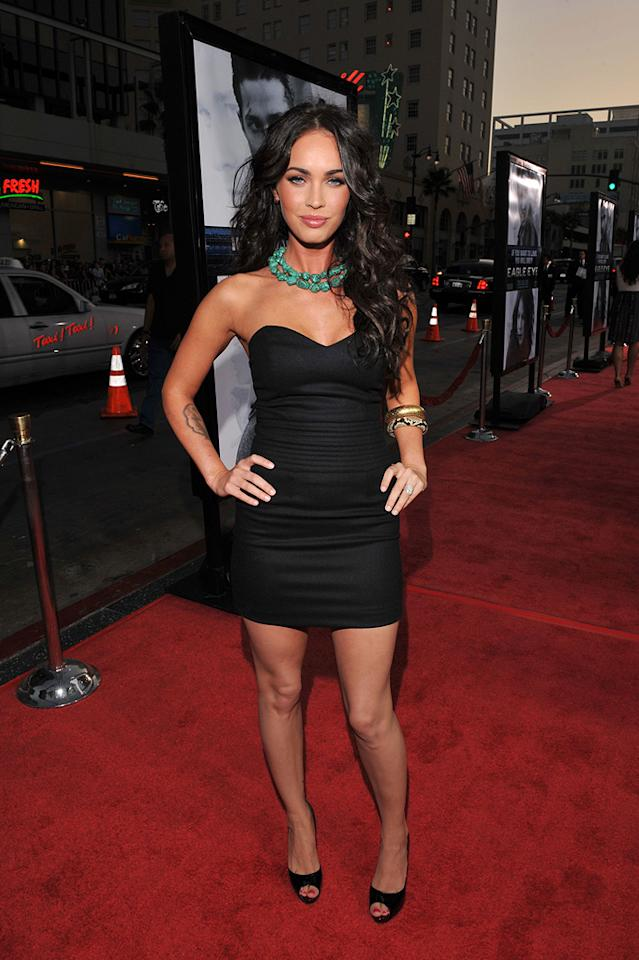"""<a href=""""http://movies.yahoo.com/movie/contributor/1808488000"""">Megan Fox</a> at the Los Angeles premiere of <a href=""""http://movies.yahoo.com/movie/1809955918/info"""">Eagle Eye</a> - 09/16/2008"""