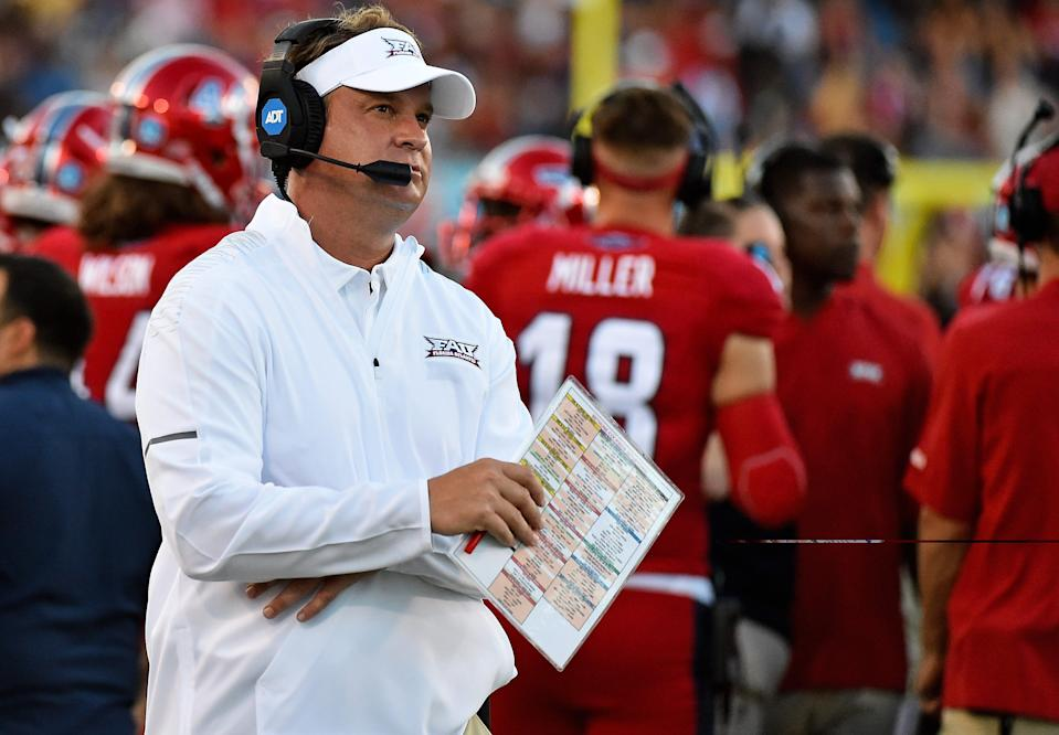 Florida Atlantic coach Lane Kiffin watches his team during the first half against Bethune Cookman at FAU Football Stadium.