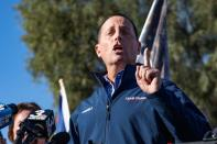 Ric Grenell speaks during a Trump campaign press conference outside the Clark County Election Center in North Las Vegas