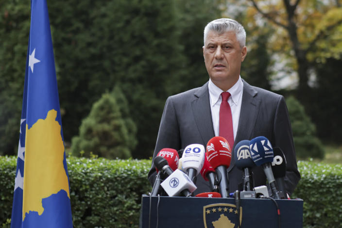 "Kosovo president Hashim Thaci addresses the nation as he announced his resignation to face war crimes charges in Kosovo capital Pristina on Thursday, Nov. 5, 2020. Thaci, a guerrilla leader during Kosovo's war for independence, has resigned in order to face charges for war crimes and crimes against humanity at a special court based in The Hague. Thaci announced his resignation at a news conference on Thursday. He said he was taking the step ""to protect the integrity of the presidency of Kosovo."" (AP Photo/Visar Kryeziu)"
