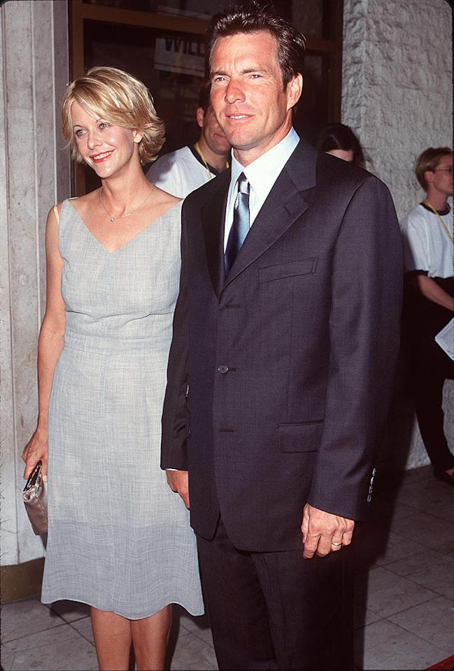 "Like so many Hollywood couples, Meg Ryan and Dennis Quaid met on a movie set. Although it was 1987's ""Innerspace"" that got them talking, it was 1988's ""D.O.A."" that got them kissing. Three years later, the two were married, and a son, Jack, followed. But in 2000, after 13 years together (an eternity in Hollywood terms), they were undone by ... a gladiator? SteveGranitz/<a href=""http://www.wireimage.com"" target=""new"">WireImage.com</a> - July 2, 1998"
