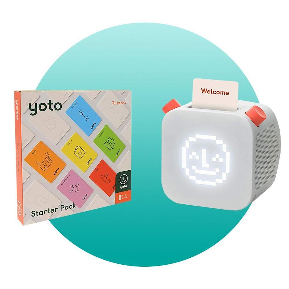 """<p><strong>Yoto</strong></p><p>amazon.com</p><p><strong>$109.99</strong></p><p><a href=""""https://www.amazon.com/dp/B088MLVZ81?tag=syn-yahoo-20&ascsubtag=%5Bartid%7C2089.g.376%5Bsrc%7Cyahoo-us"""" rel=""""nofollow noopener"""" target=""""_blank"""" data-ylk=""""slk:Shop Now"""" class=""""link rapid-noclick-resp"""">Shop Now</a></p><p>This child-friendly """"smart"""" speaker is controlled by physical cards that kids can scan to play music, audiobooks, podcasts, and more. Unlike the Amazon Echo for kids, there's no camera, no microphone, and no ads, to ensure total privacy and safety for your tot.</p>"""