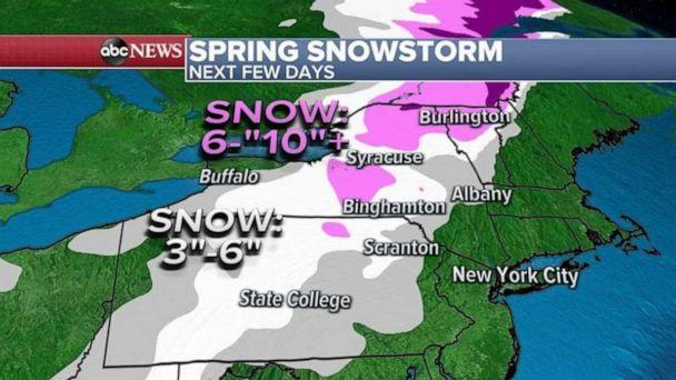 PHOTO: Winter storm watches and warnings have been issued for Pennsylvania, New York and Vermont. Locally, more than 10 inches of snow is possible by April 1. (ABC News)