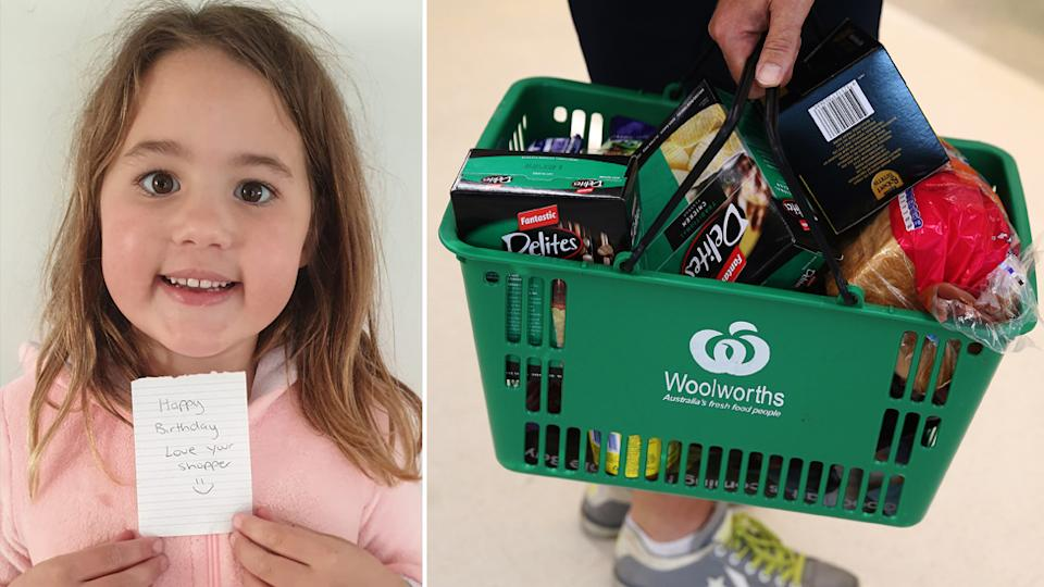 A NSW girl named Bella holds up the birthday message (left) she received from a Woolworths staff member who packed her family's online delivery. Pictured right is a Woolworths-branded basket filled with groceries.