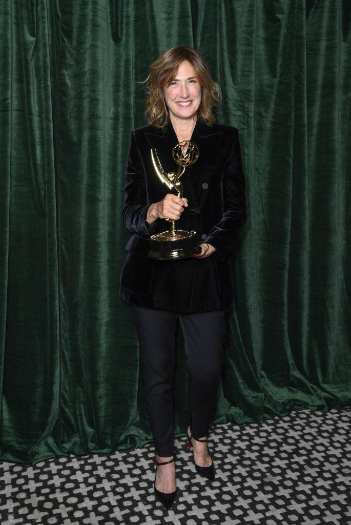 LONDON, ENGLAND - SEPTEMBER 19: Jessica Hobbs celebrates winning the Emmy award for 'Outstanding Directing for a Drama Series', at the 'The Crown' 73rd Primetime Emmys Celebration at Soho House on September 19, 2021 in London, England. (Photo by Gareth Cattermole/Getty Images)