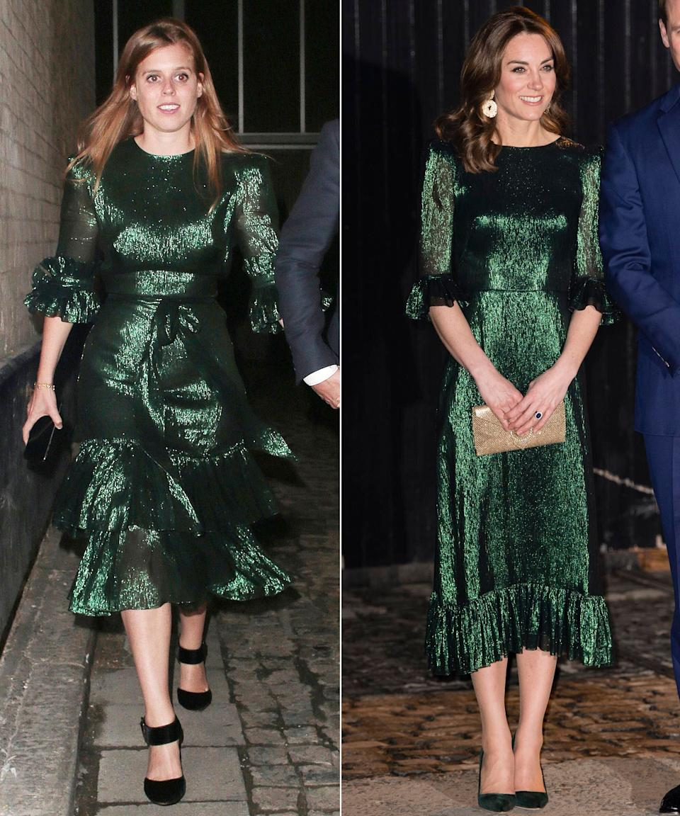 Princess Beatrice (left) and the Duchess of Cambridge have very similar green dresses. (Photo: Getty Images)
