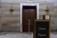 This June 30, 2021, photo shows the Old Senate Chamber in the Capitol in Washington. The U.S. Capitol is still closed to most public visitors. It's the longest stretch ever that the building has been off-limits in its 200-plus year history. (AP Photo/Alex Brandon)