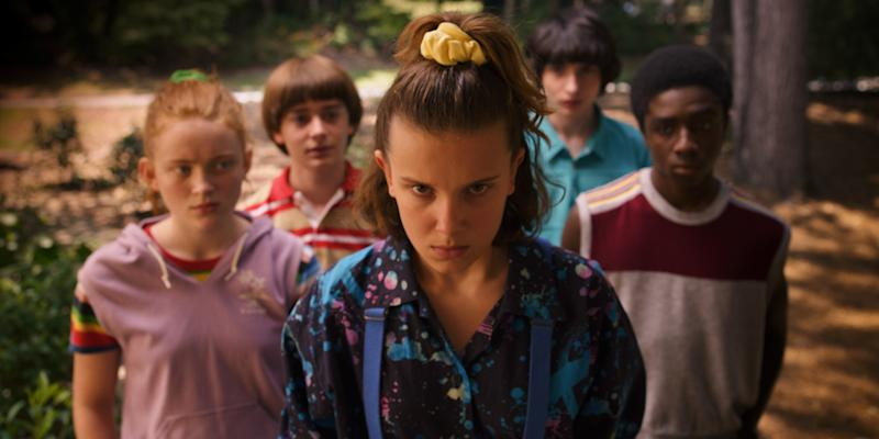 Sadie Sink, Noah Schnapp, Millie Bobby Brown, Finn Wolfhard, Caleb McLaughlin in a scene from Netflix's Stranger Things Season 3.