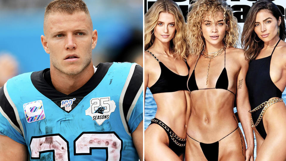 Christian McCaffrey and Olivia Culpo, pictured here in the NFL and on Sports Illustrated respectively.