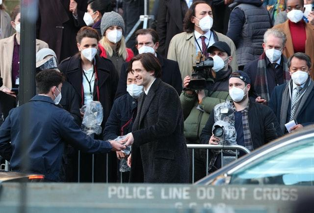 Robert Pattinson during the filming of The Batman taking place in Liverpool