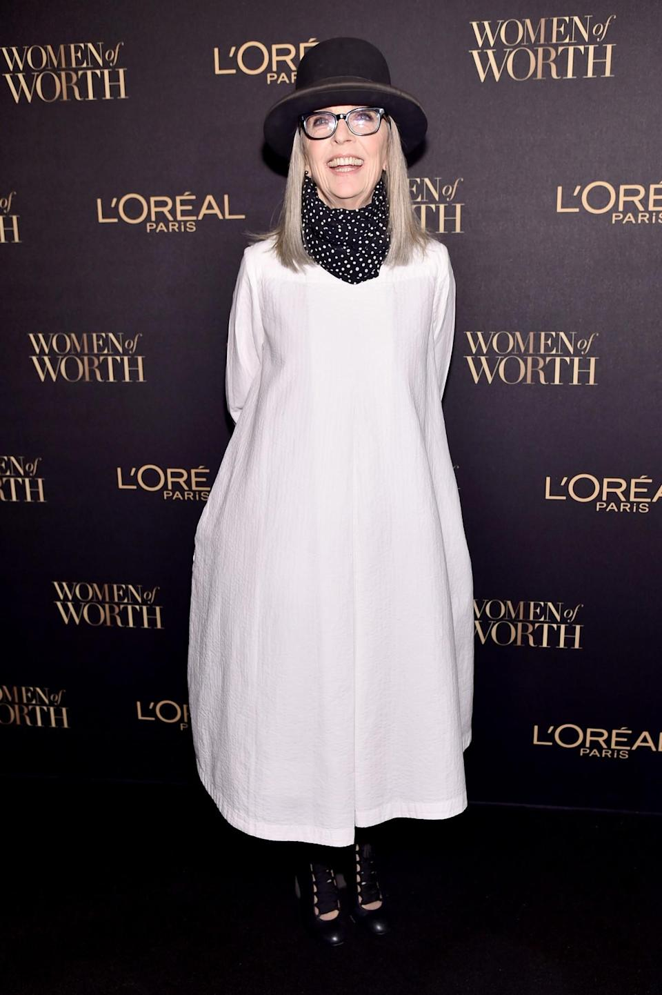 <p>Diane Keaton stuck to her usual quirky style for the event and wore a smock dress and hat. <i>[Photo: Getty]</i> </p>