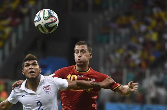 US defender DeAndre Yedlin (L) vies with Belgium's Eden Hazard their World Cup clash at the Fonte Nova Arena in Salvador on July 1, 2014 (AFP Photo/Martin Bureau)