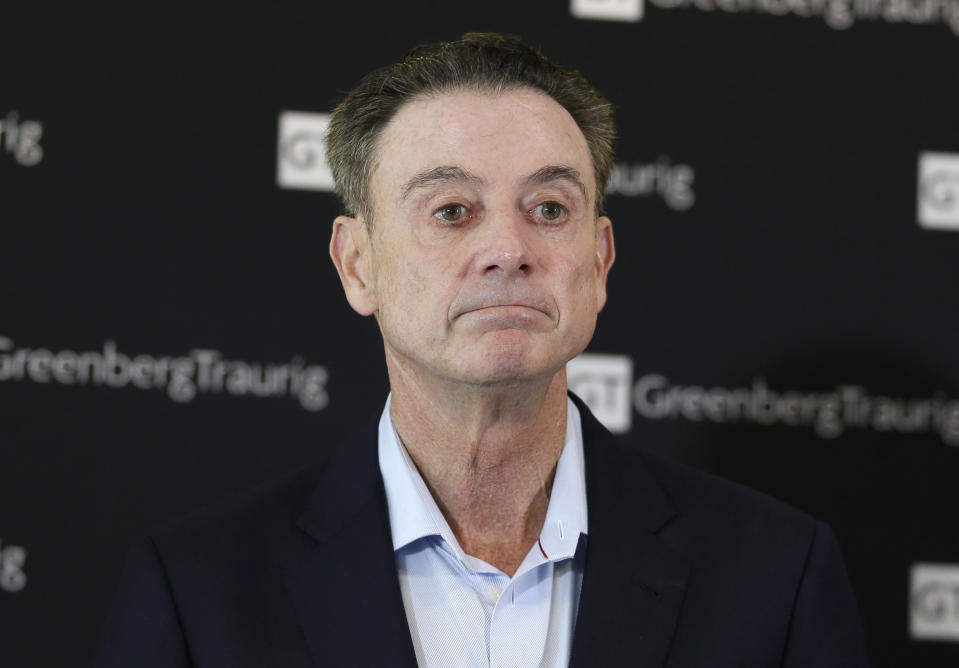 """Rick Pitino says he didn't name his horse """"Party Dancer"""" and didn't see what the problem was until he caught flak for it. (AP)"""