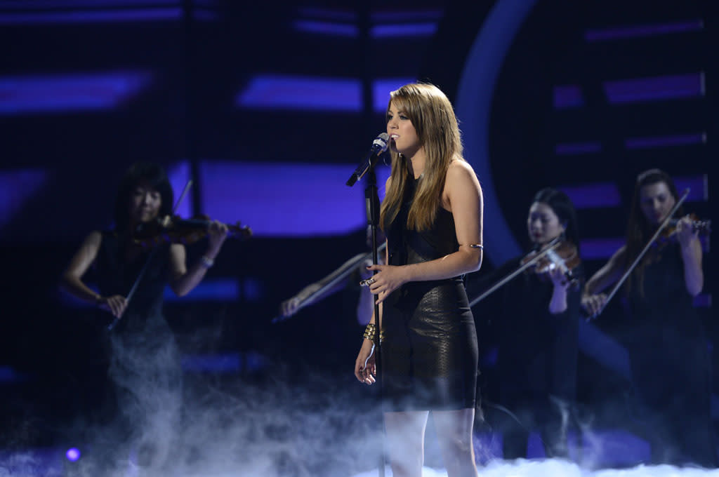 """Angie Miller performs """"Sorry Seems to Be the Hardest Word"""" on the Wednesday, May 8 episode of """"American Idol."""""""