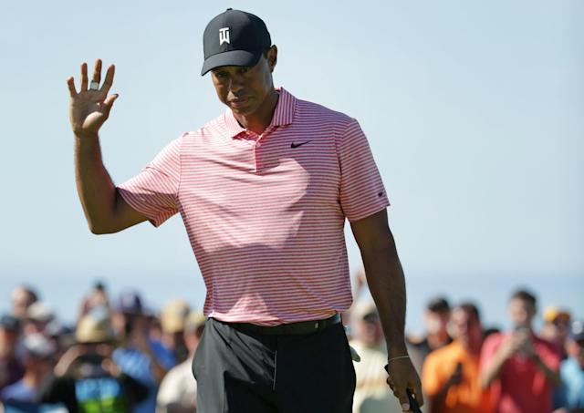 "<h1 class=""title"">Farmers Insurance Open - Final Round</h1> <div class=""caption""> SAN DIEGO, CALIFORNIA - JANUARY 27: Tiger Woods reacts to his birdie putt on the second green on the South Course during the final round of the the 2019 Farmers Insurance Open at Torrey Pines Golf Course on January 27, 2019 in San Diego, California. (Photo by Jeff Gross/Getty Images) </div> <cite class=""credit"">Jeff Gross</cite>"