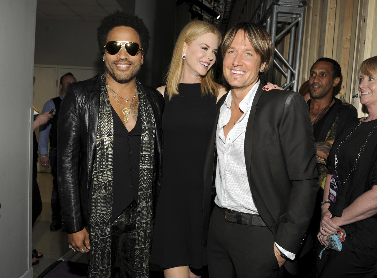 "<p> FILE - In this June 5, 2013, file photo, musician Lenny Kravitz, left, actress Nicole Kidman and country singer Keith Urban pose at the 2013 CMT Music Awards at Bridgestone Arena in Nashville, Tenn. Kidman has revealed that she was once engaged to Kravitz. Kidman confirmed the engagement with the rocker in a recent interview with Net-A-Porter's magazine ""The Edit,"" in which she was discussing her upcoming HBO series ""Big Little Lies."" (Photo by Frank Micelotta/Invision/AP, File) </p>"