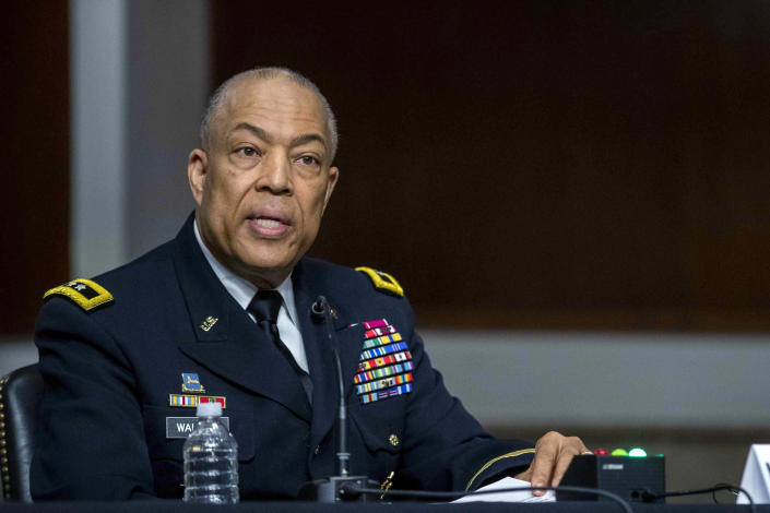Commanding General District of Columbia National Guard Major General William J. Walker testifies before a Senate Committee on Homeland Security and Governmental Affairs and Senate Committee on Rules and Administration joint hearing examining the January 6, attack on the U.S. Capitol, Wednesday, March 3, 2021, in Washington. (Shawn Thew/Pool via /AP)