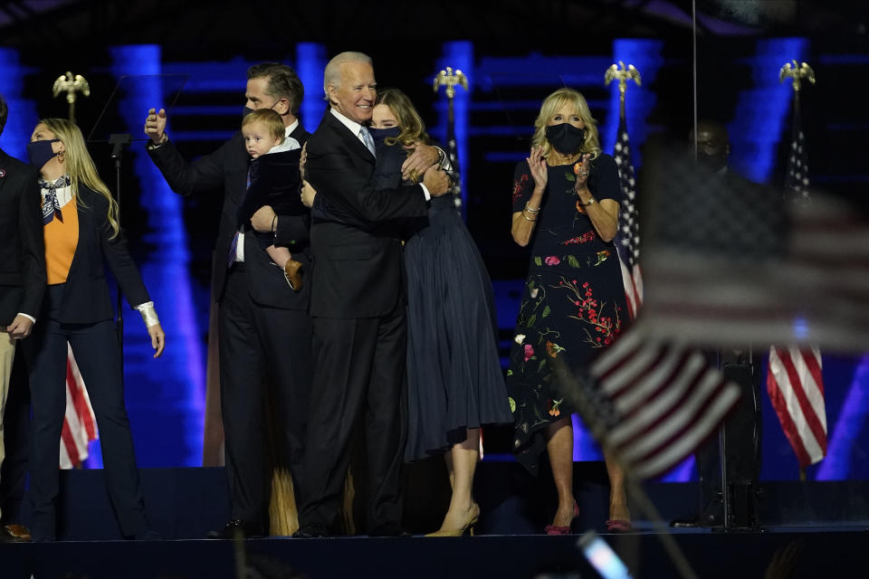President-elect Joe Biden, center, with his wife Jill Biden and members of this family on stage, Saturday, Nov. 7, 2020, in Wilmington, Del. (AP Photo/Andrew Harnik, Pool)