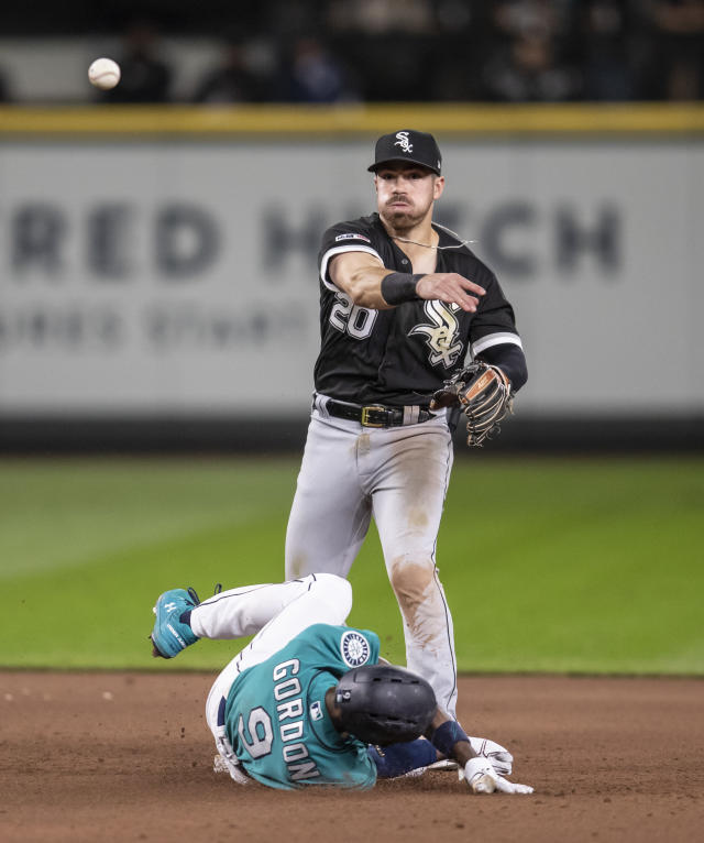 Chicago White Sox second baseman Danny Mendick is unable to turn a double play after forcing out Seattle Mariners' Dee Gordon at second base on a ball hit by Mallex Smith during the fourth inning of a baseball game Friday, Sept. 13, 2019, in Seattle. (AP Photo/Stephen Brashear)