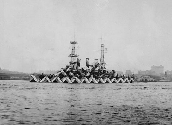 The U.S.S. Nebraska, painted in dazzle camouflage, on April 20, 1918.