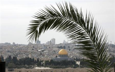 A palm frond is seen during a Palm Sunday procession on the Mount of Olives in Jerusalem